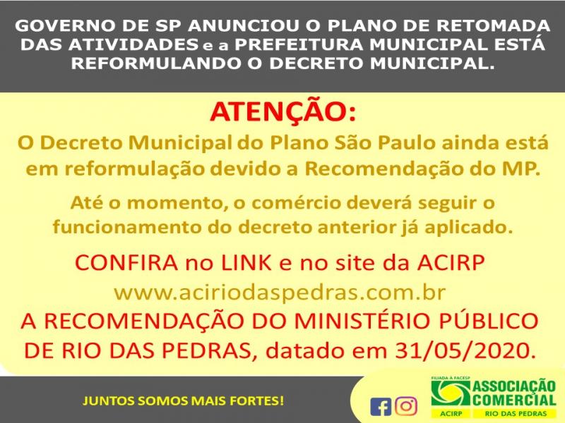 DECRETO MUNICIPAL DO PLANO SP ESTÁ EM REFORMULAÇÃO