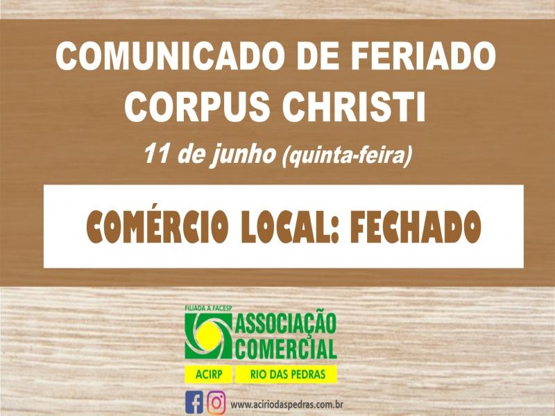 FERIADO CORPUS CHRISTI: 11 DE JUNHO