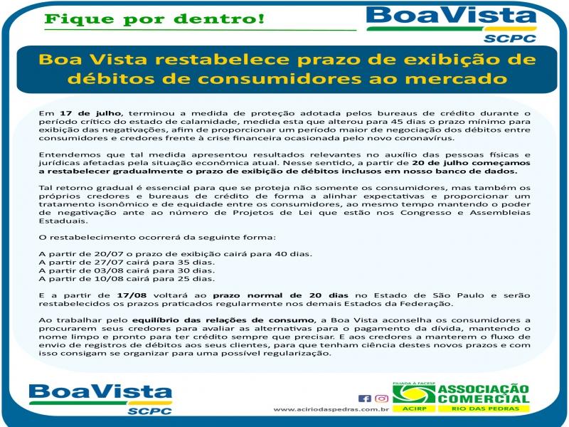 Boa Vista restabelece prazo de exibição de débitos de consumidores ao mercado
