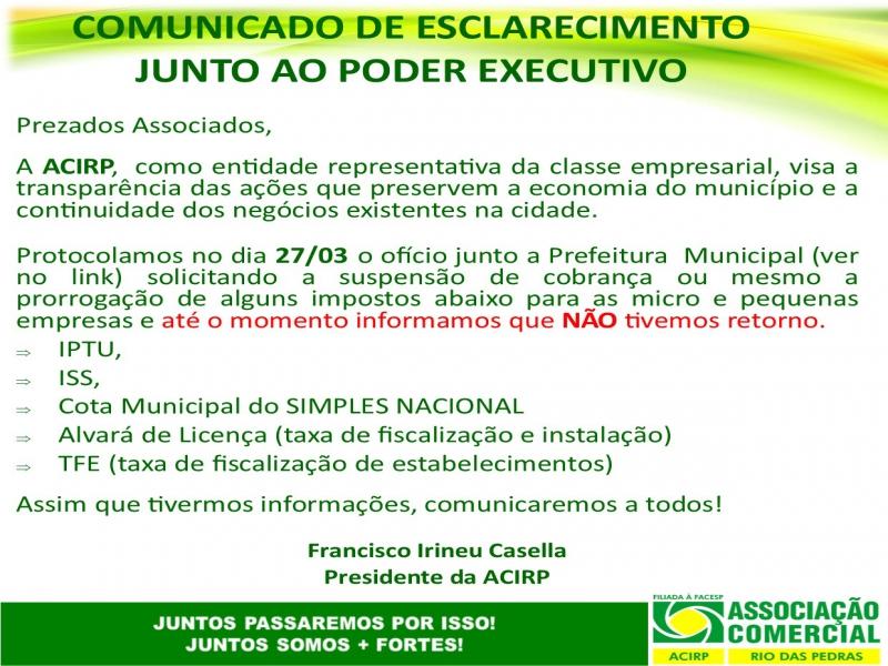 COMUNICADO DE ESCLARECIMENTO JUNTO AO PODER EXECUTIVO