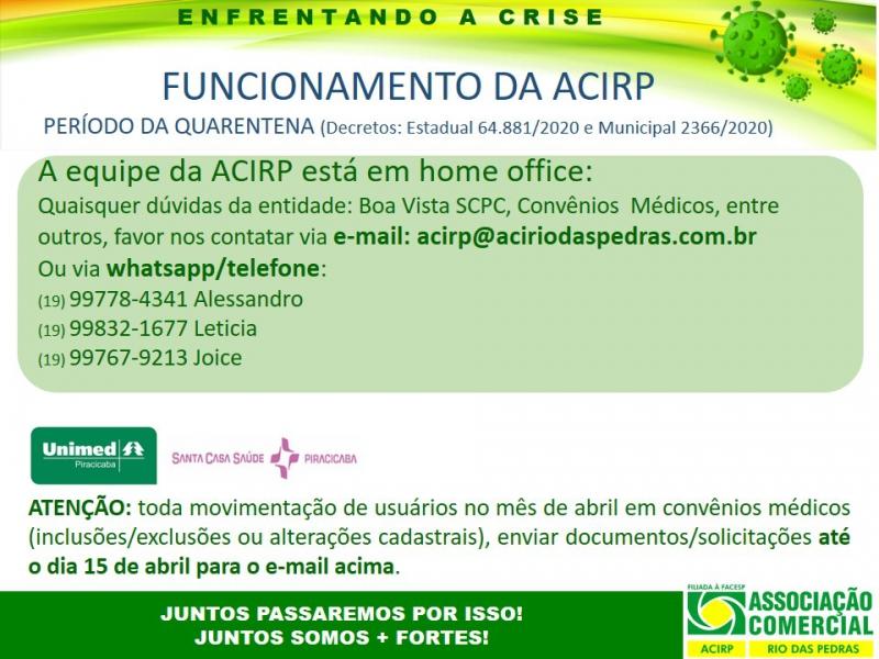 FUNCIONAMENTO DA ACIRP VIA HOME OFFICE