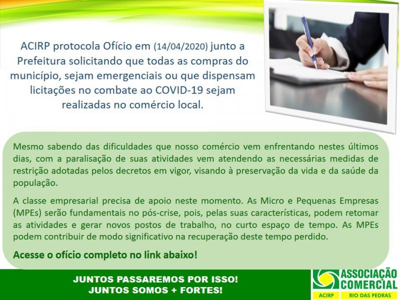 ACIRP PROTOCOLA OFÍCIO JUNTO A PREFEITURA